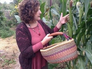 Checking out the corn in the community garden