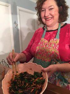 Denise Barratt with hempeh salad