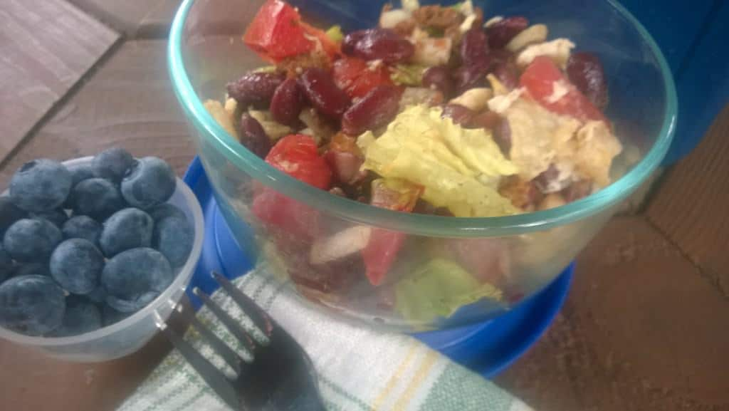 Love this taco salad made from No Evil Food Plant Meat