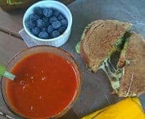 Grilled cheese, tomato soup and blueberries