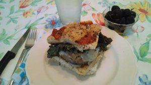 A summer portabella sandwich on foccacia