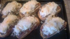Open Faced Tempeh Sandwiches with Melted Swiss Cheese