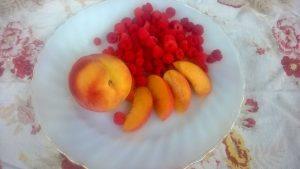 Peaches and raspberries in the peak of summer