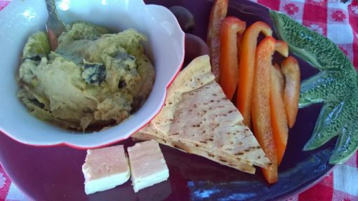 Mediterranean inspired eggplant dip, pita, feta and raw veggies