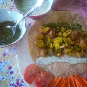 Roti is an Indian wrap. This one has eggplant and potatoes that have been roasted
