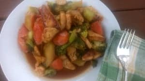 Finished recipe of the vegetable tofu stir fry.