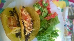 A healthy recipe for black bean tacos.