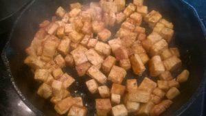 Stir fried tofu to add to the veggie stir fry.