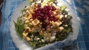 One of my favorite salads with apples, greens, walnuts, cranberries and blue cheese or feta
