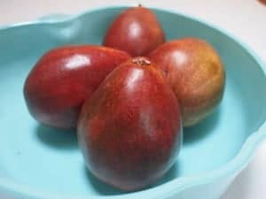 Red bosc pears in a bowl are a delicious fall treat
