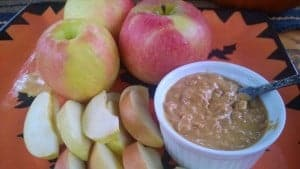 Peanut butter dip with local apples