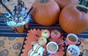 Celebrate Halloween with apples, cocoa, cider, popcorn and pretzel sticks.