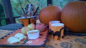 Pumpkins, healthy Halloween treats, warm beverages inside the gazebo is my kind of celebration