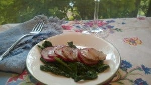 Roasted radishes take on a sweet flavor and sauteed radish greens are delicious also!
