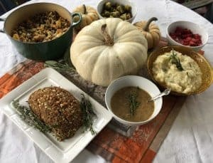A vegetarian Thanksgiving with all of the fixings