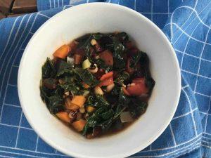 Kale, Sweet Potato and Black bean soup