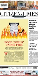 Food Gurus Under Fire. Article from newspaper.