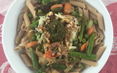 Spring Pasta with a variety of vegetables just says spring