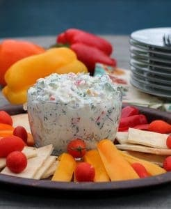 Pepper and Kale Dip can be used to dip veggies or bread