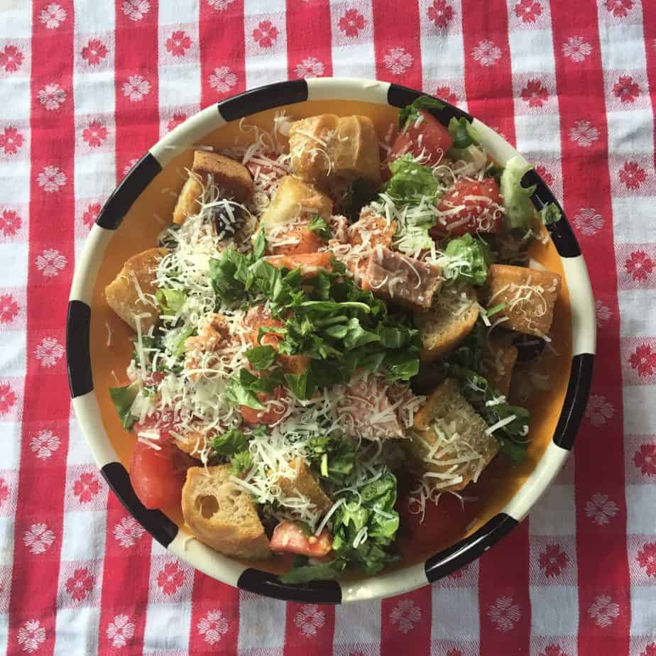 A perfect picnic idea is a Smoked Trout Panzanella in a bowl