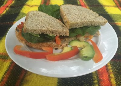 Roasted Vegetable, Spinach and Avocado Sandwich