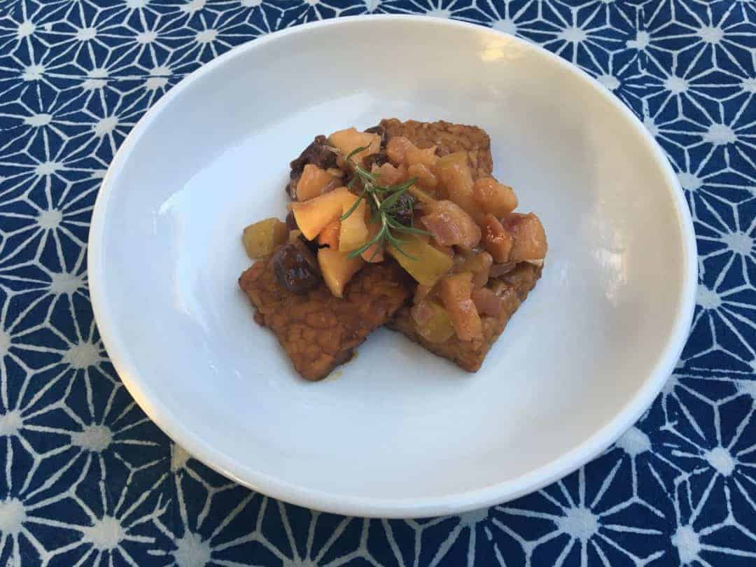 Apple Cider Glazed Tempeh with Apple Cherry Chutney