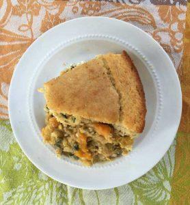 Squash Pot Pie with corn bread crust