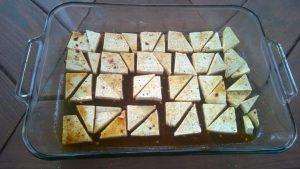 Marinating Tofu on Baking Sheet