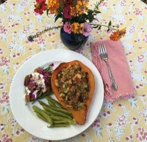 Picture of a stuffed winter squash for Thanksgiving