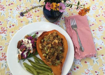 Stuffed Fall Squash with Sausage and Cornbread Stuffing7-survival-tips-for-a-healthier-thanksgiving/