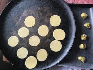 Pasta cut in circles ready for filling