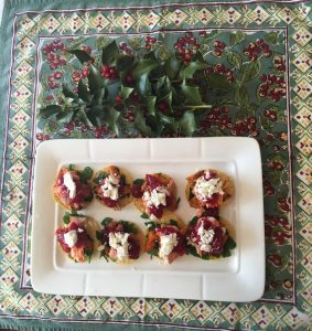 Mini Totadas for a holiday appetizer