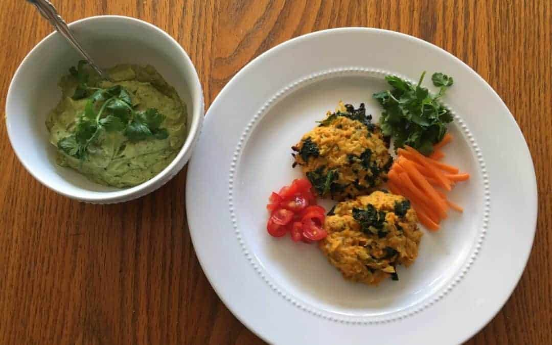 Recipe for Avocado Tahini with Cauliflower, Sweet Potato, Kale Cakes