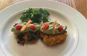 Cauliflower, Sweet Potato, Kale Cakes with Avocado Tahini