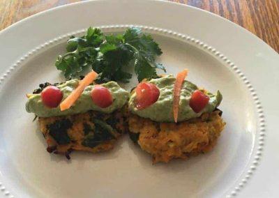 Avocado Tahini with Cauliflower Sweet Potato Kale Cakes