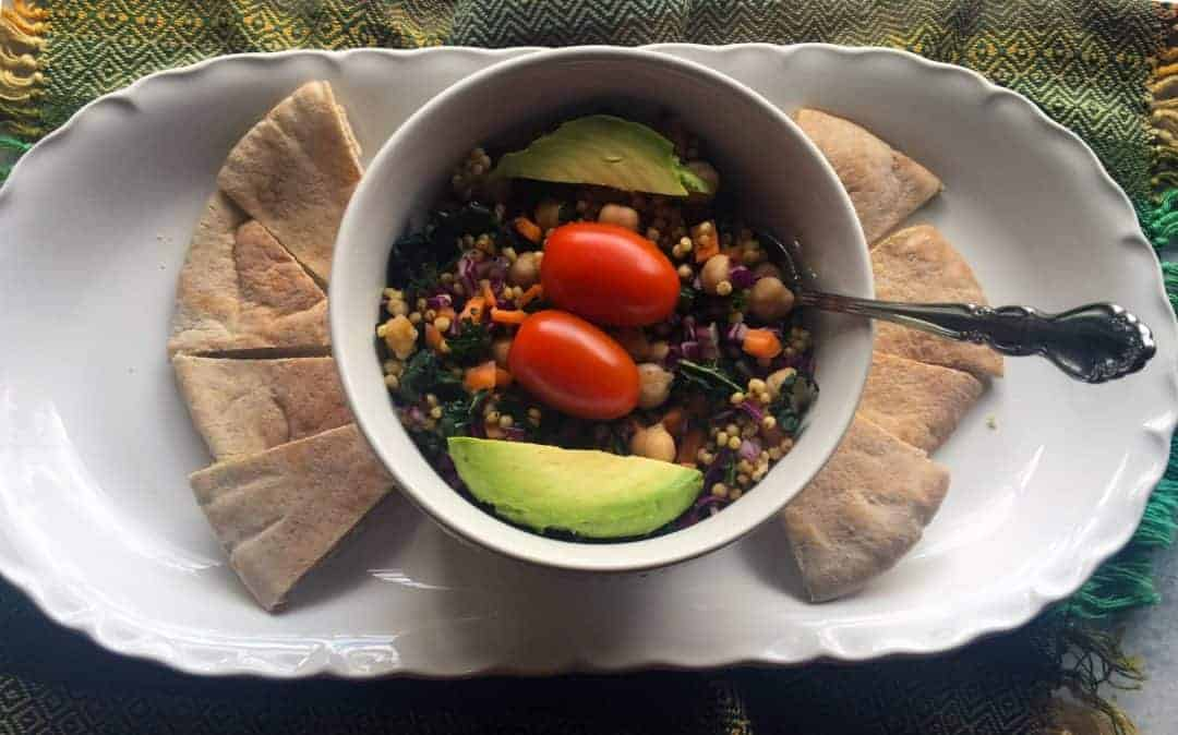 Rainbow Kale Salad with Pita Bread