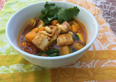 Tomato Pumpkin Curry Soup With Tofu
