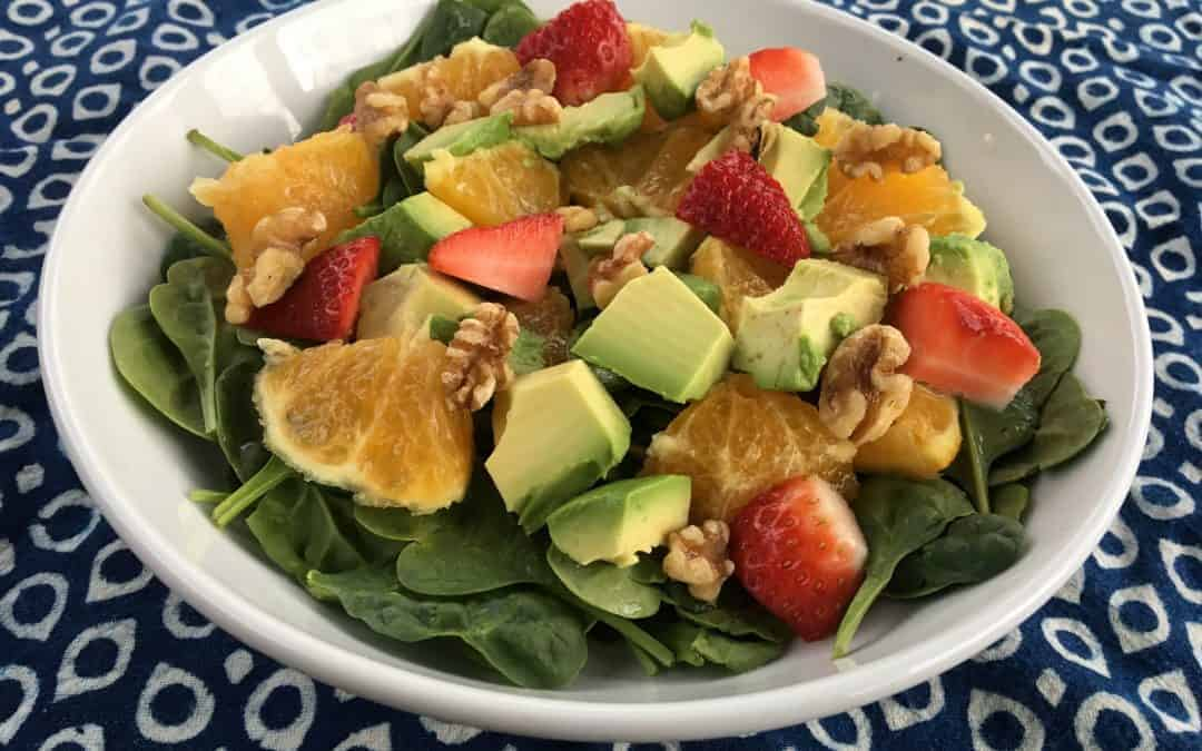 Orange, Avocado, Strawberry, Walnut & Spinach Salad