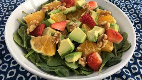 Orange, Avocado, Strawberry Spinach Recipe with Nut
