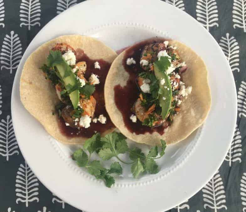 Shrimp Tacos with Spicy Pomegranate Sauce