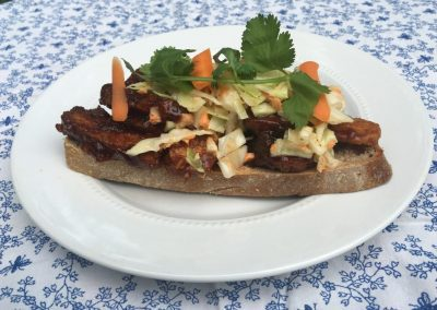 Open-Faced Barbeque Tempeh Sandwich