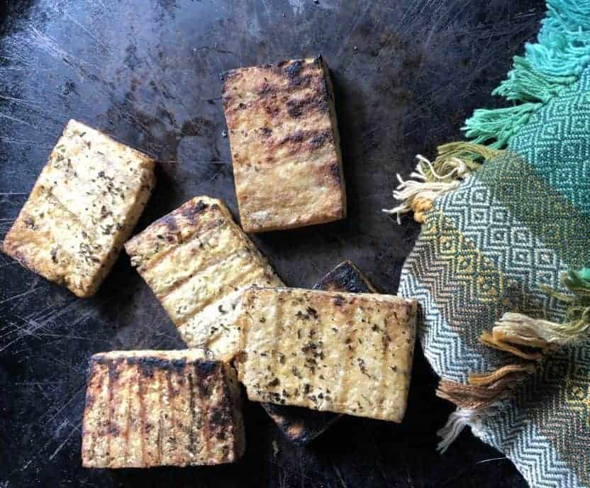 Tofu that is grilled and marinated.
