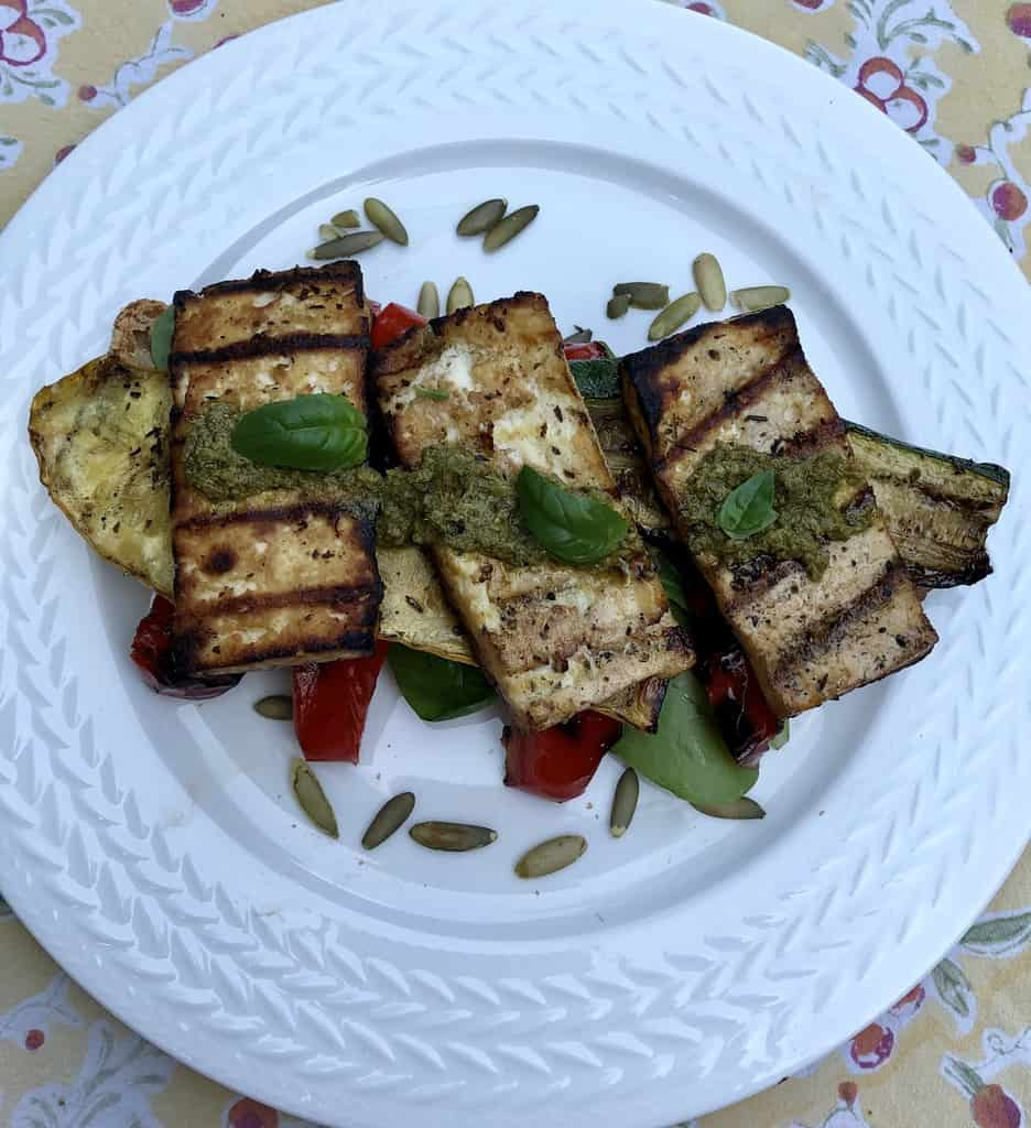 Grilled Squash and tofu Sandwich
