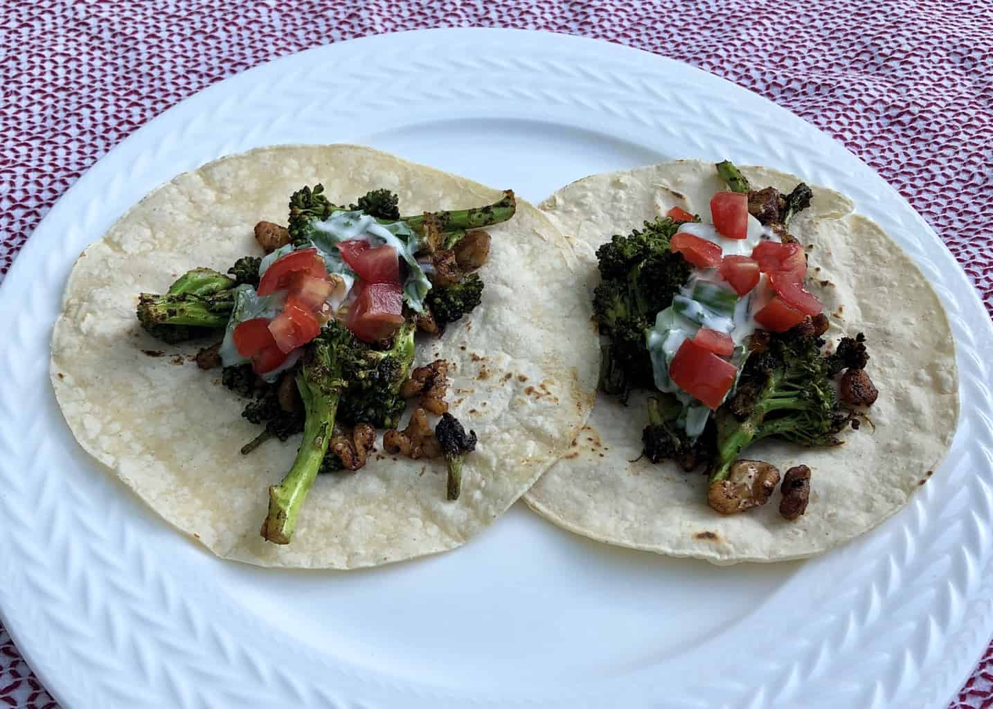 Broccoli Tacos with Curry Seasoning and Walnuts