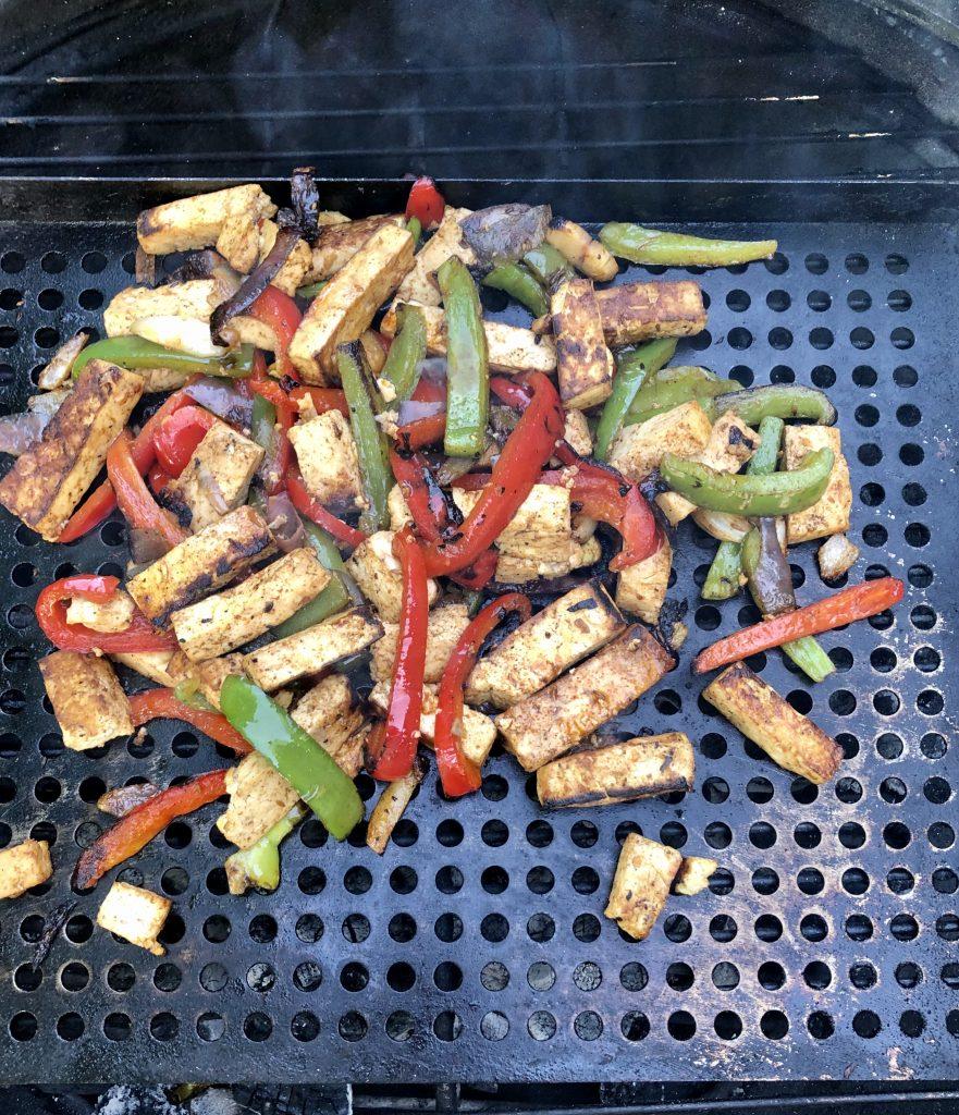 tofu fajitas on the grill