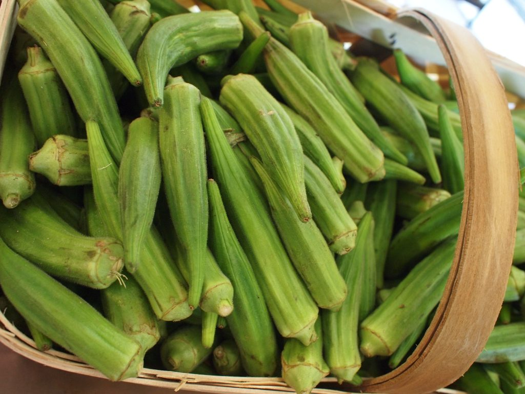 picture of okra in a basket