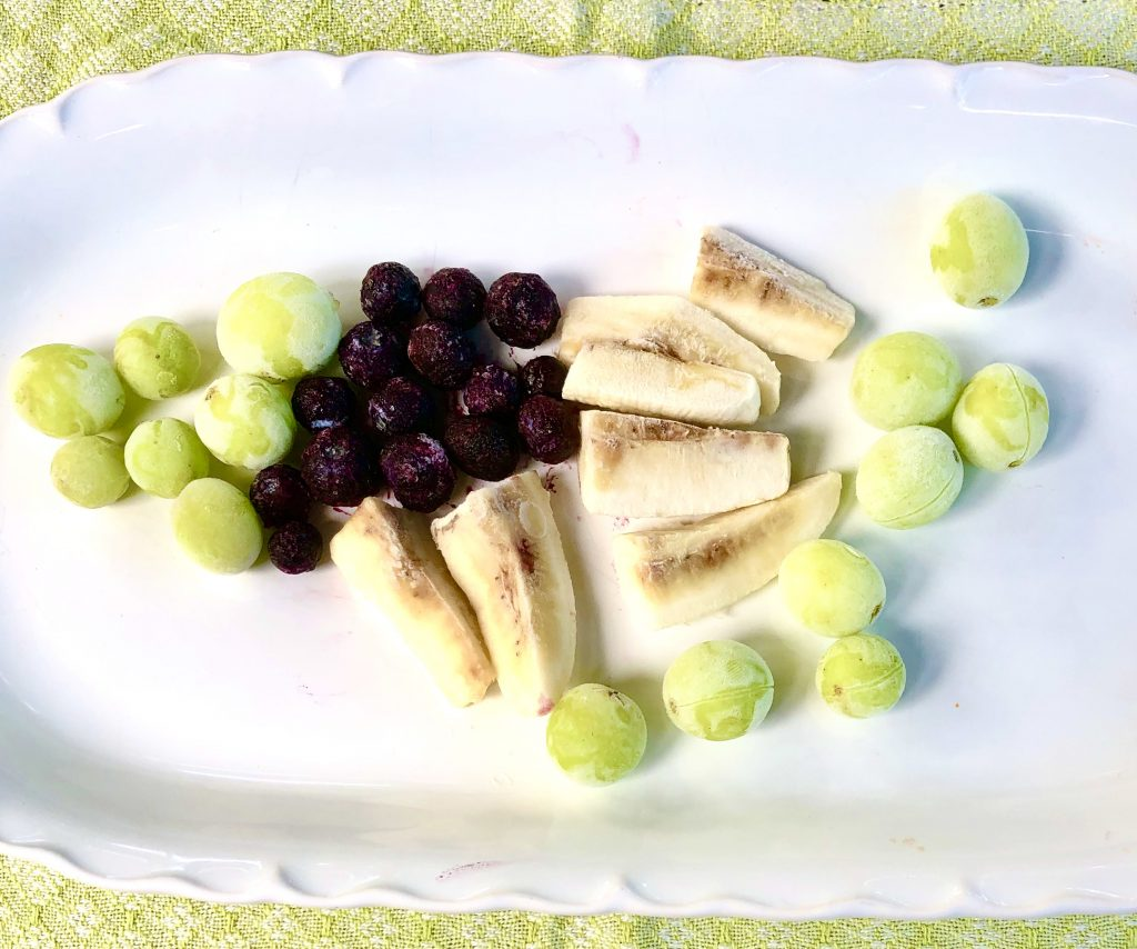 Blueberries, Banana and Grapes are great options for low fodmap